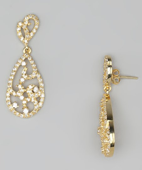 Cubic Zirconia & Gold Filigree Teardrop Earrings