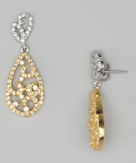 Two-Tone Filigree Teardrop Earrings