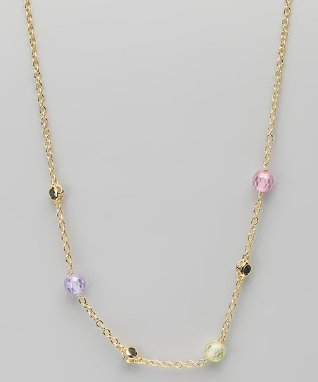 Pastel Cubic Zirconia & Gold Necklace