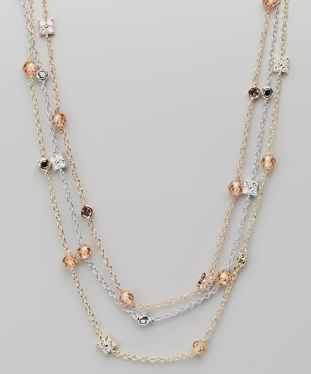 Citrine & Gold Triple-Strand Necklace