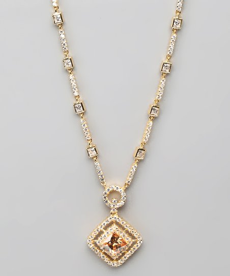 Champagne Cubic Zirconia & Gold Pendant Necklace