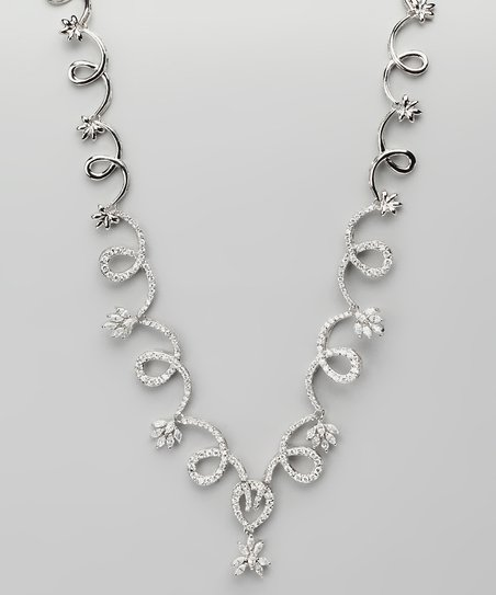Cubic Zirconia & Sterling Silver Swirly Necklace