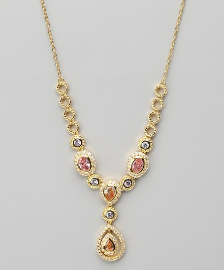 Cubic Zirconia & Gold Pendant Necklace