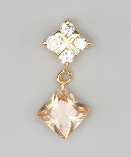 Champagne Cubic Zirconia &amp; Gold Square Pendant