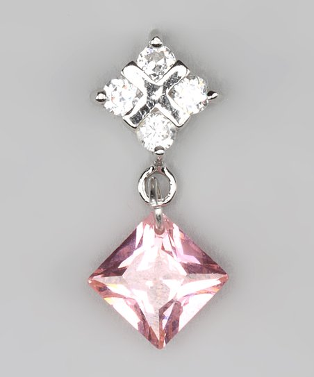 Pink Cubic Zirconia &amp; Sterling Silver Square Pendant