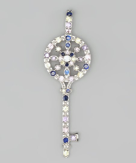Blue Cubic Zirconia &amp; Sterling Silver Key Pendant