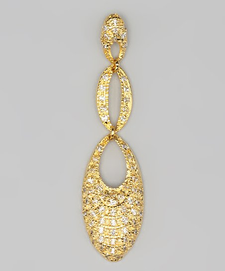 Cubic Zirconia &amp; Gold Weave Pendant