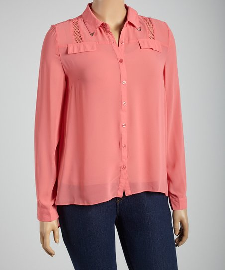 Coral Sheer Button-Up - Plus