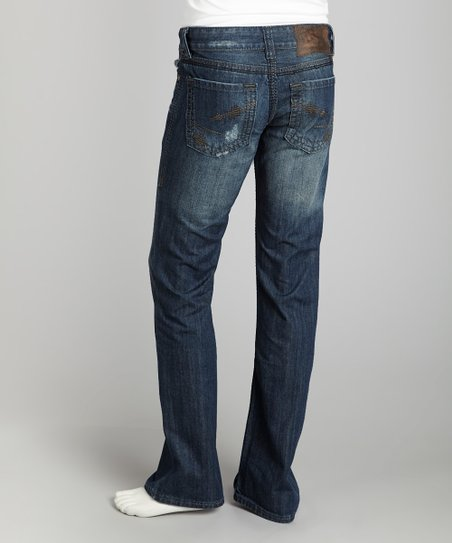 Dark Wash Distressed Embroidery Straight-Leg Jeans - Men