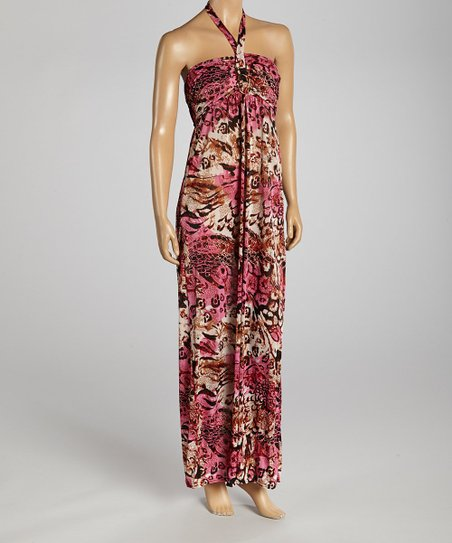 Fuchsia & Brown Abstract Halter Dress - Women