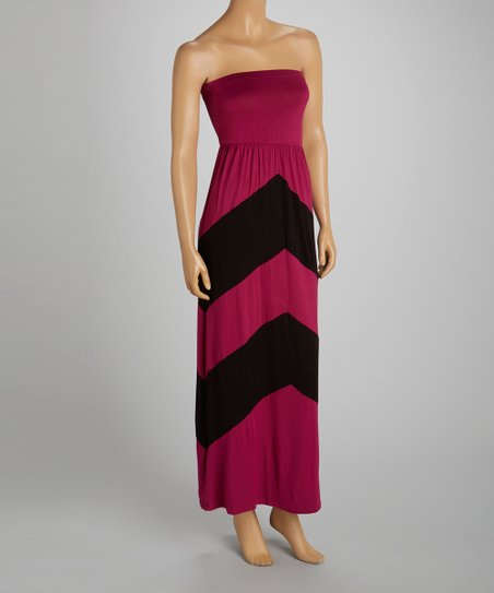 Pink & Black Chevron Strapless Dress
