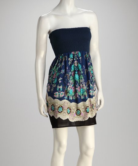 Navy Strapless Floral Dress