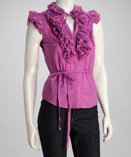 Purple Tie-Waist Ruffle Top