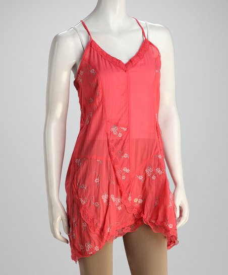 Coral Silk-Blend Camisole Tunic