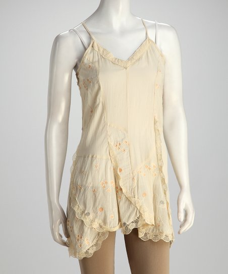 Tan Silk-Blend Camisole Tunic