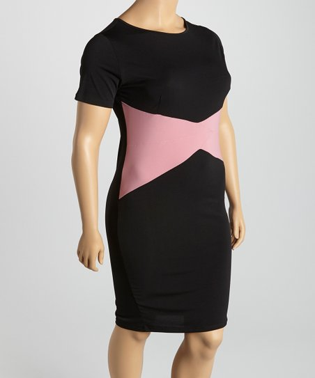 Black & Pink Color Block Sheath Dress - Plus