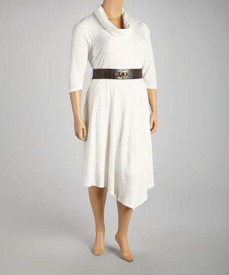 Cream Cowl Neck Dress - Plus