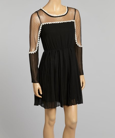 Black & White Sheer Empire-Waist Dress