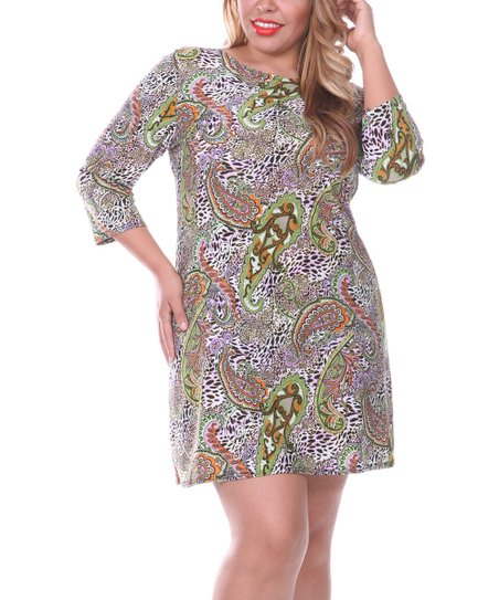 Green & Orange Paisley Shift Dress - Plus