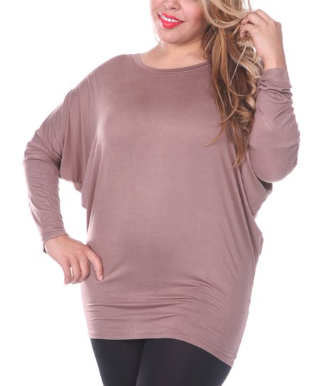 Brown Dolman Scoop Neck Tunic - Plus