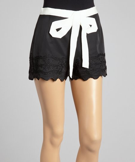 Jet Black & Ivory Ribbon Shorts