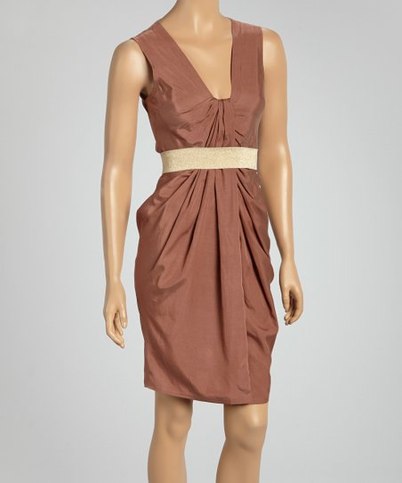Brown Belted Sleeveless Dress