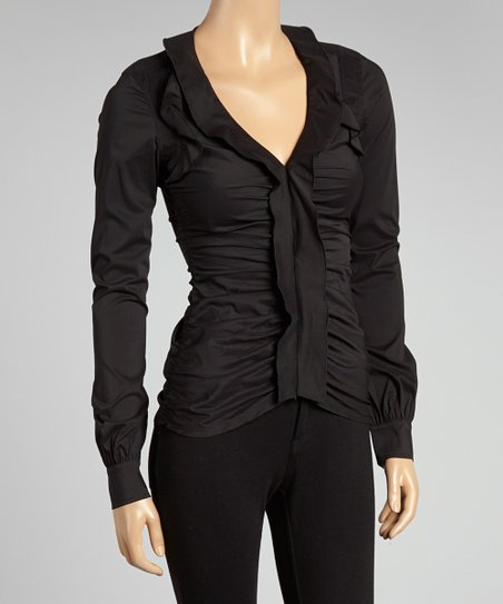 Jet Black Ruched Button-Up Top