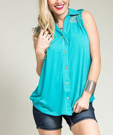 Jade Floral Lace Button-Up - Plus