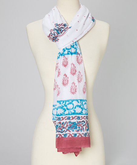 Burgundy & Blue Filigree Scarf