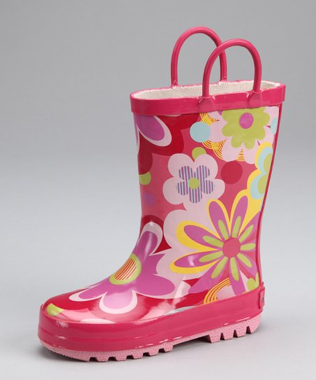 Fuchsia Flower Power Rain Boot