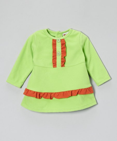 Green & Orange Fleece Ruffle Dress - Infant, Toddler & Girls