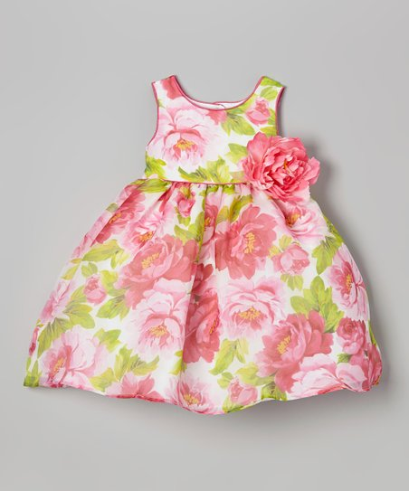 Pink & Green Blossom Flower Dress - Girls