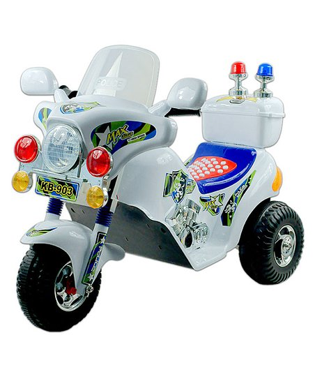 White MaxOut Police Electric Trike Ride-On
