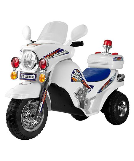 Lil&#039; Rider White Lightning Electric Police Cruiser Ride-On