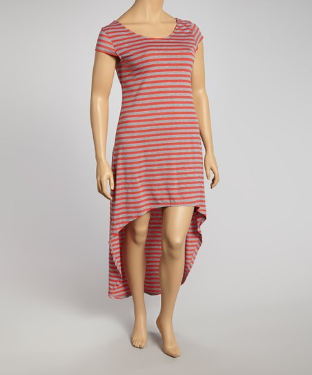 Coral & Gray Stripe Hi-Low Dress - Plus