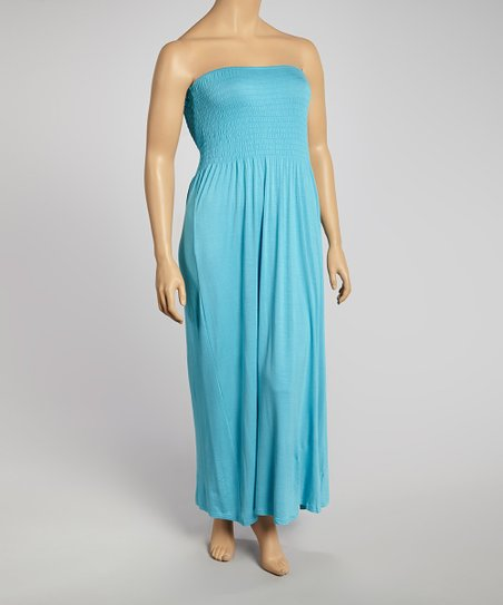 Aqua Cancun Ruched Strapless Maxi Dress - Plus