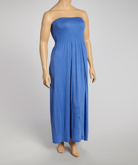 Royal Show Ruched Strapless Maxi Dress - Plus