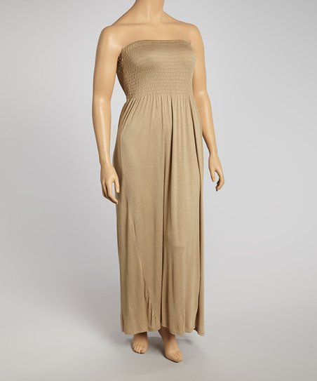 Cancun Taupe Ruched Strapless Maxi Dress - Plus
