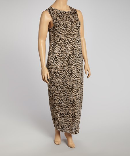 Tan & Black Arabesque Maxi Dress - Plus