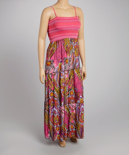 Fuchsia & Yellow Paisley Maxi Dress - Plus
