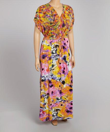 Pink & Orange Flower Bouquet Surplice Maxi Dress - Plus
