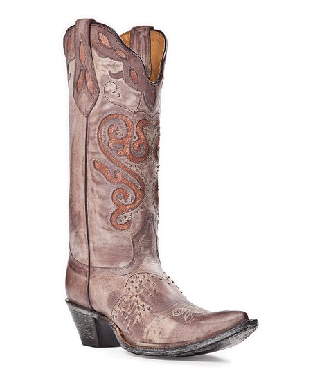 Brown Studded Leather Cowboy Boot - Women