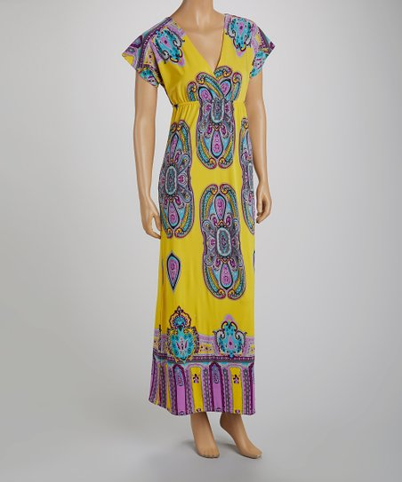 Yellow Paisley Cap-Sleeve Maxi Dress - Women