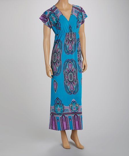 Turquoise Paisley Cap-Sleeve Maxi Dress - Women
