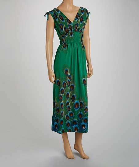 Green Smocked Peacock Maxi Dress - Women