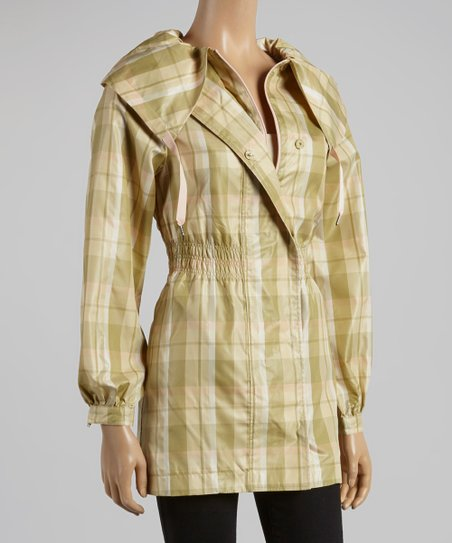 Olive Smocked Plaid Coat - Women