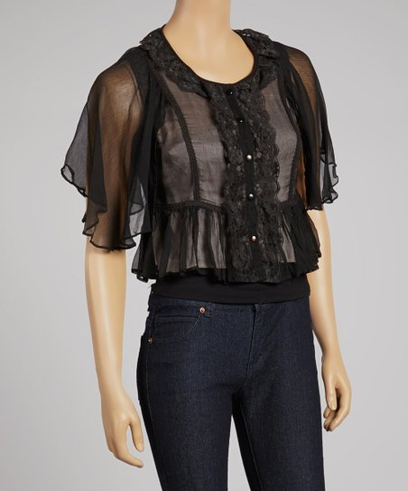 Black Sheer Lace Button-Up Top