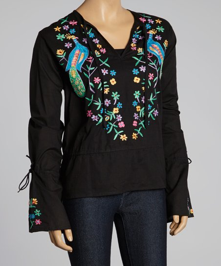 Black & Blue Peacock Peasant Top
