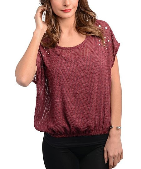 Bungundy Sheer Zigzag Top