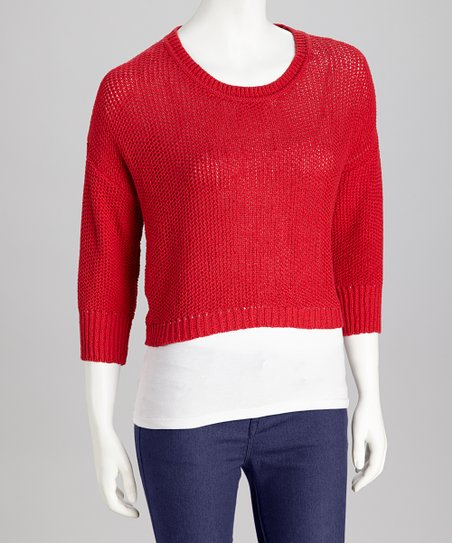 Red Cropped Sweater - Women